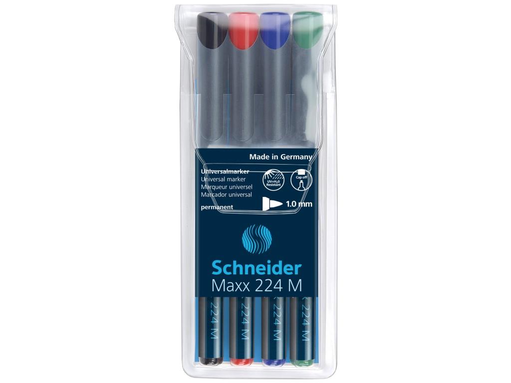 OHP Marker Mediu Permanent Schneider 4/Set 224, 1mm